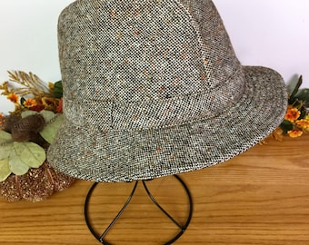 Donegal Wool Tweed Fedora, Made in Ireland, Size 7