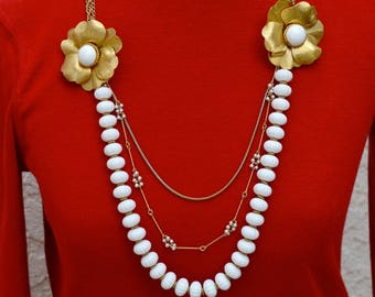 White and Gold Assemblage Necklace from Vintage Components