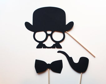 Disguise Face, Pipe, & Bow Tie Photo Booth Props