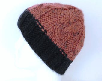 Men's hat twisted pure new wool, eco-friendly black and rust, handmade