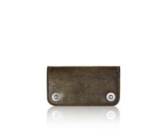 iPhone SE, iPhone 5 RETROMODERN aged leather wallet - - DARKBROWN