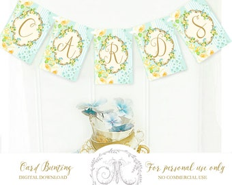 Bunting, banner, digital, CARDS, instant download, baby shower, wedding, event, party printable, 8.5x11 Personal use only