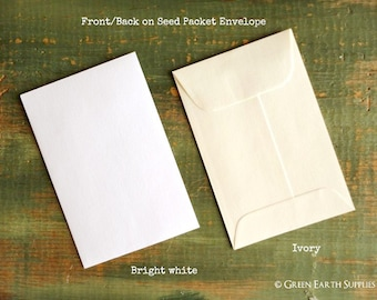 "SALE!  50 Standard Size Seed Packet Envelopes, Recycled White or Ivory, Seed Envelopes, Favor Envelopes, Recycled 3x4.5"" (76x114mm)"
