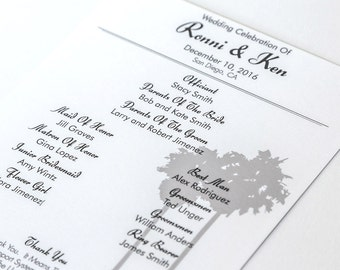 San Diego Wedding Program Ceremony Itinerary Your City Custom Half Sheet Events of the Day