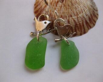 SS Bird Earrings - Sterling Silver Bird Earrings Animal Jewelry Beach Glass Jewelry, Handmade Custom Jewelry