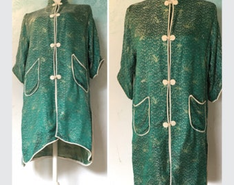 50s  Satin bathrobe, Housecoat  with Mandarin collar.   Emerald green  Oriental robe