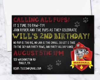 Marshall Paw Patrol Birthday Invitation, 5x7, Gender Neutral, Red, Yellow, Black, Digital Download