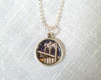 Tiny Brooklyn Bridge Pendant. Lovingly Handmade in Brooklyn by Wishing Well Studio.