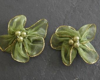 2 fabric khaki lettering satin flowers, jewelry.