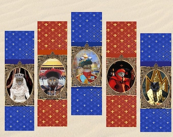 set of 5 bookmarks with costumed cats: our royalty (continued)