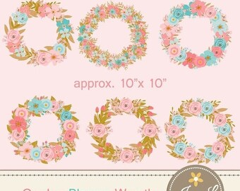 50% OFF Peach Turquoise Floral Wreath Clipart, Blush Wedding Flowers, Flower Bunches, Floral Arrangement for digital Scrapbooking, Wedding,