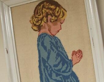 Vintage Framed Needlework Praying Child