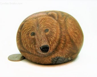 Painted rock,painted stone,grizzly bear,fathers day,bear rock,bear stone,grizzly art,bear painting,animal art,dad gift,bear hunter,bear art
