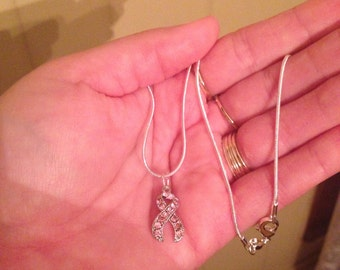 New! Breast Cancer Pink Crystal Ribbon Pendant on .925 Silver Snakechain(16in) Mother's Day Sale!!