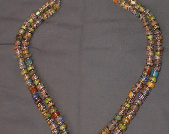 restrung necklace old millefiori venetian glass beads