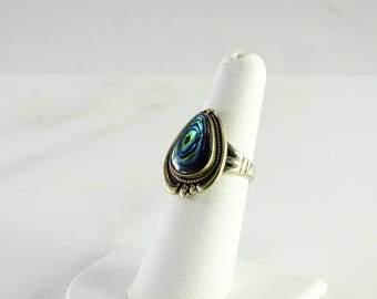 Iridescent Shell Ring Size 6.25 Sterling Signed