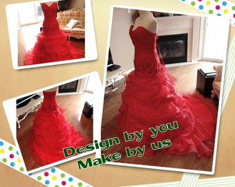 Red wedding dress, red wedding gown