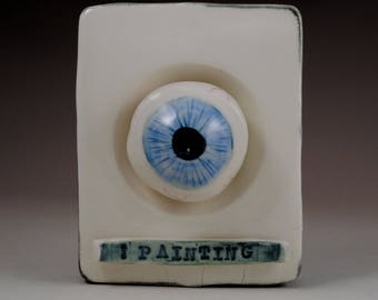 iPainting Ceramic Blue Eyeball Framed and Ready to Hang