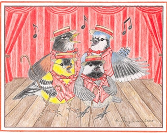 Barbershopping Birds illustrated note card