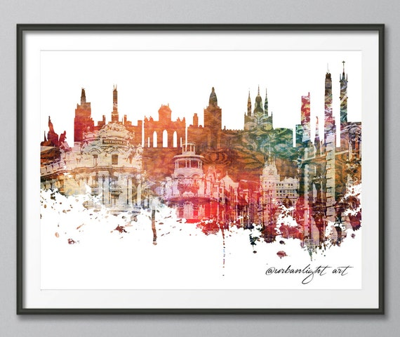 Madrid Skyline Print Spain Cityscape Art Print Poster