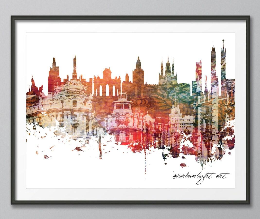 Madrid Skyline Print Spain Cityscape Art Print Poster