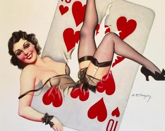 HEARTS WIN 12x18 BURLESQUE Poker Pinup Girl By Bergey Art Deco 1930's Pin-Up  Up Skirt, nylons Stockings, Garters Midcentury Modern  Fantasy