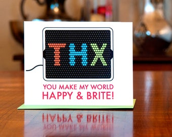 THX You Make My World Happy & Brite - Vintage Toy Inspired Thank You Card on 100% Recycled Paper