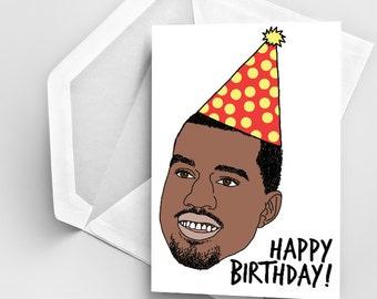 Birthday Card, Kanye West Birthday Card, Birthday Greeting Card, Funny Kanye Birthday Card, Digital Kanye Drawing, Card Birthday Kanye West