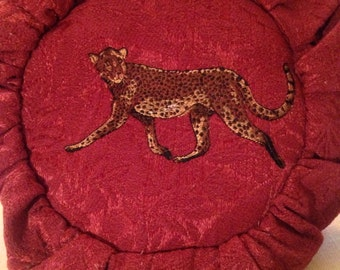 Cool Red Fabric Gathered Bag with Leopard