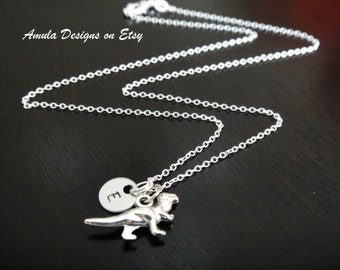 Dinosaur Handstamped Personalized Initial Necklace