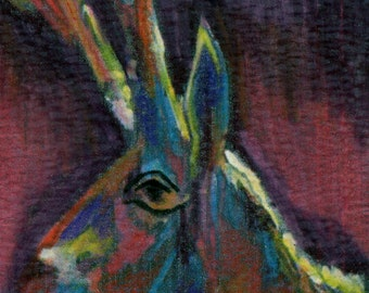 original art  aceo drawing abstract antelope