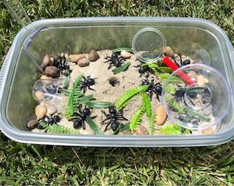 Ant Hill Sensory Bin! Bug sensory bin, sand sensory bin, sensory bin, quiet bin