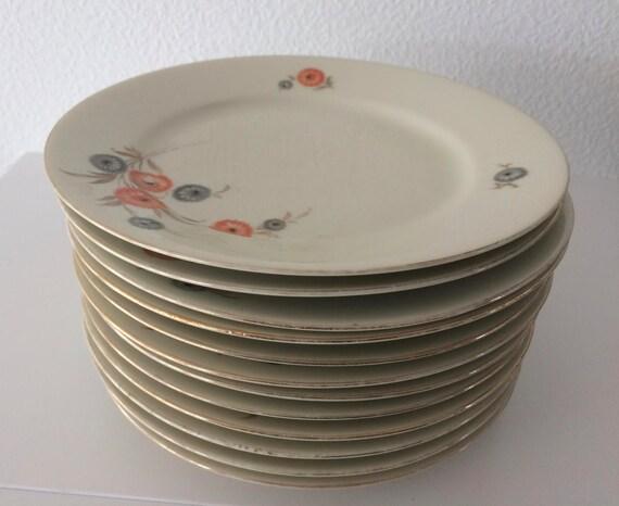 Vintage set of 12 Kahla porcelain cake plates with flower decoration
