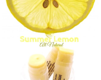 Summer Lemon Lip Balm with All Natural Lemon Oils and Butter. 100% All Natural.