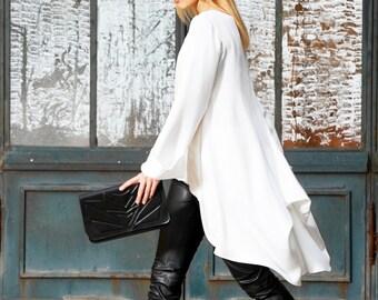 Tunic Top, White Tunic, Long Sleeve Tunic, White Shirt, Oversized Tunic Top, Loose Top, Asymmetrical Designer Shirt, Casual Shirt, Party