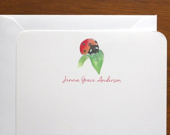 Customized Ladybug Stationery - set of 12 cards + envelopes