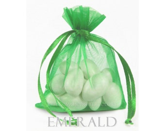 30 Emerald Green Organza Bags, 3 x 4 Inch Sheer Fabric Favor Bags, For Wedding Favors, Jewelry Pouches