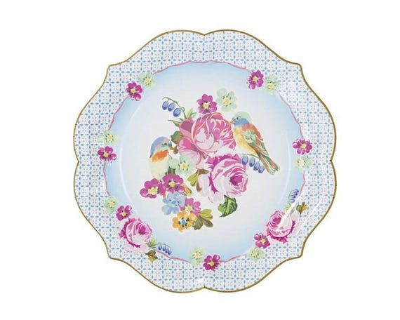 Truly Scrumptious Serving Paper Plates Tea Garden Vintage