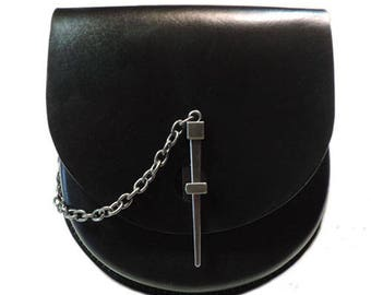 Black Leather Sporran with Pin Latch 2