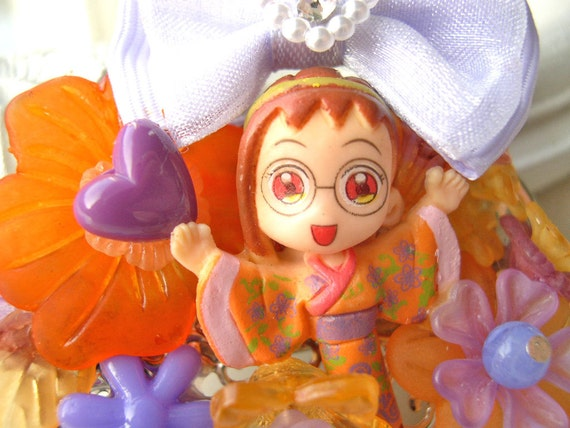 Hair Clip kawaii fairy kei lolita accessory manga girl kanzashi purple orange