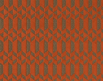 Orange Geometric Upholstery Fabric - Modern Heavyweight Durable Fabric for Furniture Upholstery - Contemporary Orange Pillows