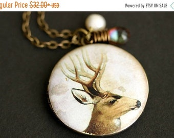 MOTHERS DAY SALE Woodland Deer Locket Necklace. Deer Necklace with Light Brown Teardrop and Fresh Water Pearl Charm. Bronze Locket. Handmade