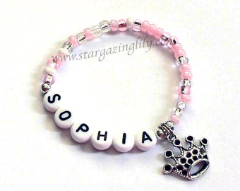 BEST SELLER - Personalized Pink Princess Party Favors for kids Personalized Name bracelet Party Favor Bracelet Princess Birthday Party