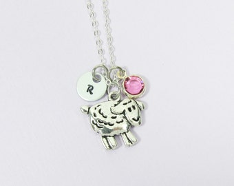 Sheep Necklace - Personalized little sheep, lamb with Handstamped intial and Birthstone