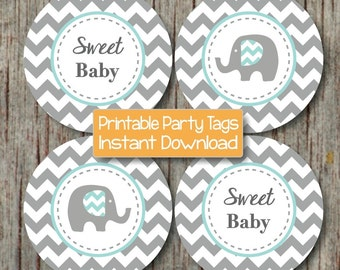 Baby Shower Elephant Printable Cupcake Toppers Party Favor Tags Stickers Light Teal Grey Chevron Sweet Baby INSTANT DOWNLOAD Supplies - 083