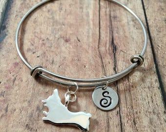 Running Corgi initial bangle - Corgi jewelry, dog breed bracelet, Corgi dog bangle, Welsh corgi jewelry, dog breed jewelry, Corgi bracelet