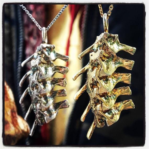 Etherial Jewelry Rock Chic Talisman Luxury Custom Handmade Artisan Pure Sterling Silver .925 Snake Vertebra Rattlesnake Backbone Pendant