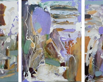 Feeling light and wonderful - original abstract triptych painting 54x23cm