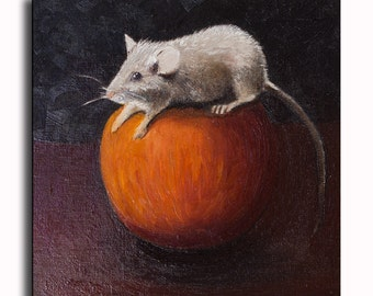 Mouse Painting Original Oil Painting Animal kitchen painting Kitchen Decor Kitchen Art Wall Decor Minimal painting 6x6 inch