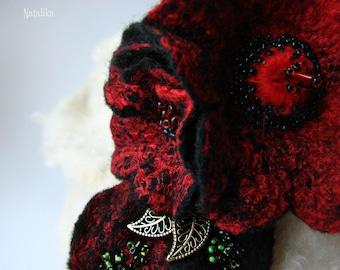 "Handmade felted pin ""Spanish Bouquet"""